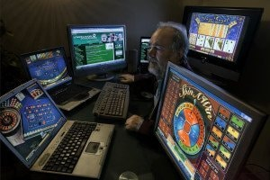 Addicted to the gambling of the Casinos by internet. Gonzalo Garcia Pelayo, professional gambler.  (Photo by Luis Davilla/Cover/Getty Images)
