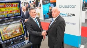 Lawrence Shepherd Independent Gaming) and David Orrick (Merkur Gaming at the sydney launch of Bluestar