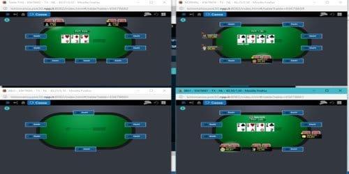 Visualizzazione dei tavoli attraverso il Web Client di poker