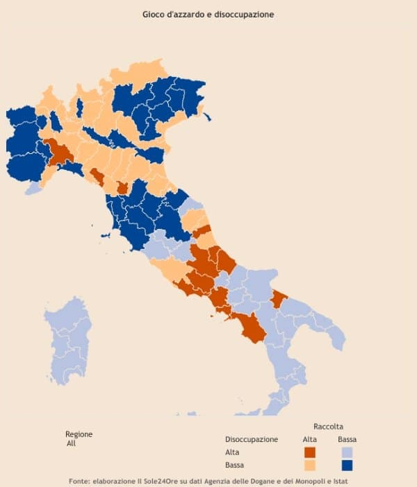 Le aree da osservare con maggiore attenzione sono quelle colorate di  arancione. È qui infatti che convivono una disoccupazione più alta della  media cf87b8c109a8